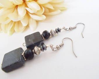 Black Earrings Silver, Stone Beaded Dangle Earrings Bohemian Jewelry Handmade, Anniversary Gift for Wife, Boho Earrings, Gift for Daughter