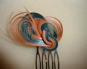 Authentic Vintage Orange And Green Knotted Cane Silver Hair Comb