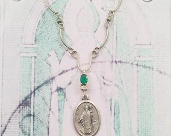 Saint Patrick necklace for women, Saint Patrick pendant, emerald stone necklace