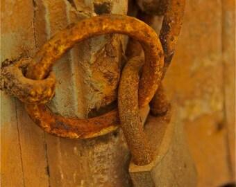 door lock gold orange rust burnt orange photograph lock door Greek Greece travel pad lock abstract  wall decor art collectibles locks