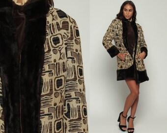 Tapestry Jacket Faux Fur Coat Vegan Vintage 70s Bohemian Jacket Mod 1970s Boho Hipster Fake Fur Brown Winter Vegan Medium