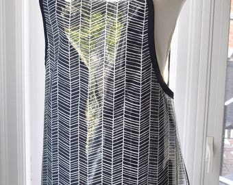 Navy Herringbone Vinyl Apron - waterproof wipe clean handmade apron - fabric with clear vinyl covering - machine washable