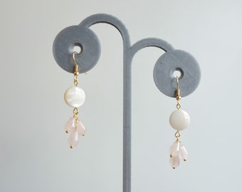Mother of Pearl and Rose Quartz Drops