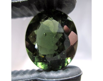 9.1 Carat FACETED MOLDAVITE Oval From Chlum, Czech Republic - ww1321