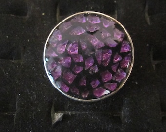 Round mosaic Adjustable ring with purple resin