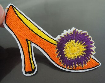 Orange High Heels Shoe Patches - Iron on or Sewing on Patch High Heeled Shoe with Flower Patches Embellishments Embroidery Applique Patch