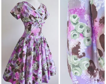1950s Lilac & green rose print cotton day dress / 50s pastel purple wrap bust full skirt printed dress - S