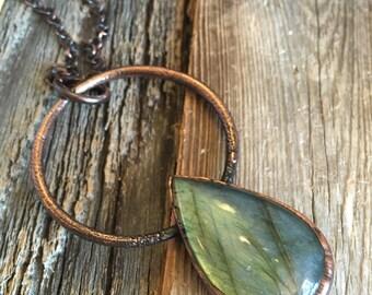 Crystal Necklace  Labradorite Pendant  Crystal Jewelry  Boho Jewelry  Hippie Jewelry  Gypsy Necklace  Boho Jewelry