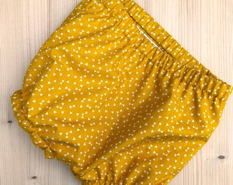 Baby bloomers, toddler bloomers, nappy covers, diaper cover, bubble leg, baby shorts, mustard, traditional style baby outfit
