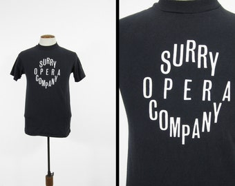 Vintage Surry Opera Company T-shirt 80s Black Tee Made in USA - Medium / Large