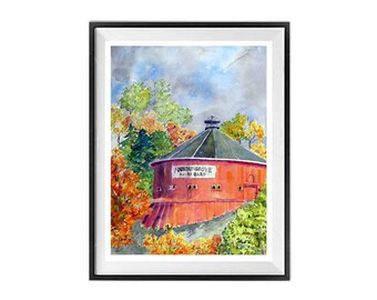 Red Barn, Landscape Painting, Round Red barn, Round Barn, Wall decor, Red wall art, Farmland painting, Sale, Watercolor Print, Landscape