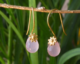 Rose quartz drops and Golden Silver earrings