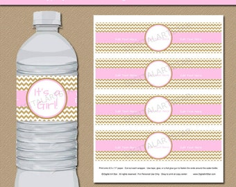 Baby Shower Water Bottle Labels in Pink and Gold Chevron - EDITABLE Baby Shower Water Bottle Wraps - Printable Baby Shower Decorations GPCD