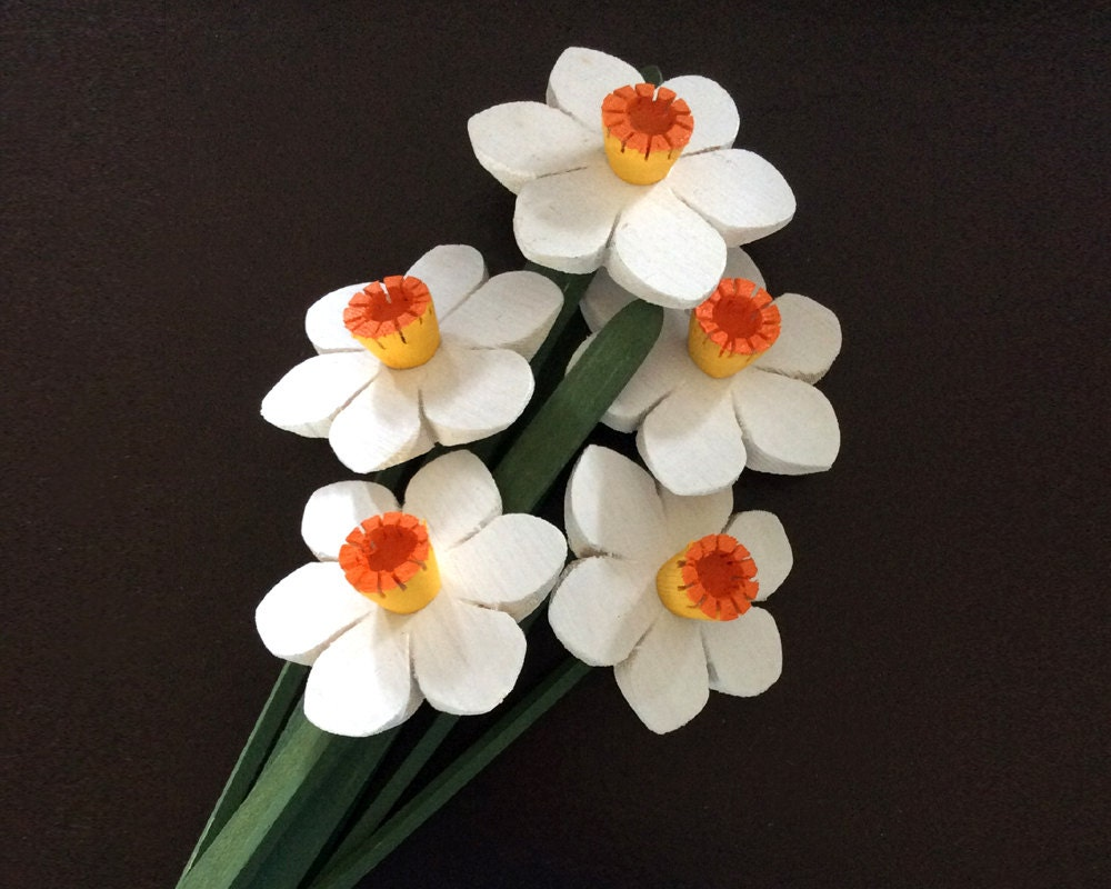 Narcissus Flowers Handmade Wooden Flowers Spring Bouquet Easter