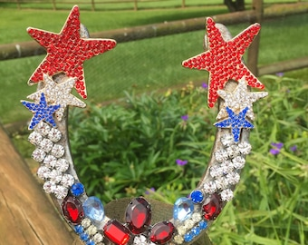 Horse Shoe Bling Red/White/Blue 4th of July Independence day celebrate