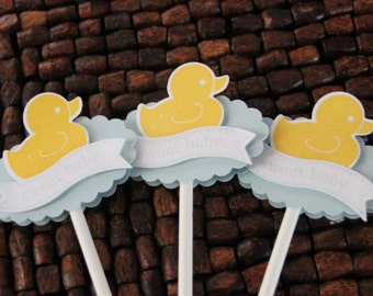 Little Duck Baby Shower Cupcake Toppers - Set of 10