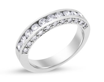 0.80 Ct. Natural Diamond On Side Channel Set Wedding Band 14k White Gold