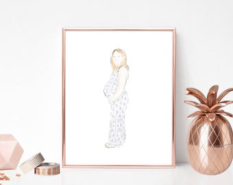 Pregnancy bump customised digital portrait - digitally hand drawn and watercolour - promtable download