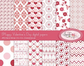 50%OFF Valentine digital paper, hearts and arrows paper, shabby rose digital papers, lace digital paper, Valentine patterns, DIY Valentine,