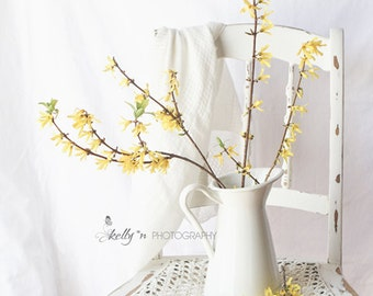 Floral Still Life- Forsythia Flower Print, Floral Wall Art, Farmhouse Decor, Spring Flowers Photo, White Yellow Decor, Country Home Decor,