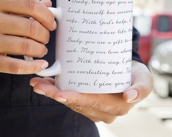 Valentine's Day Gift, Wedding Vows Printed Onto Mug 11oz