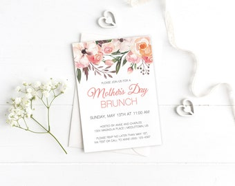 Printable Mother's Day Invitation - Bohemian Floral - Instant Download Customizable Printable Mothers Brunch Tea Invitation PDF Template