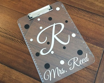 Custom/Personalized Initial/Name Clear Clipboard