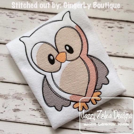 Owl Sketch Embroidery Design - bird sketch Embroidery Design - baby sketch Embroidery Design