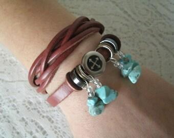 Leather Bracelet, boho jewelry gypsy jewelry bohemian jewelry hippie jewelry moroccan tribal ethnic hipster new age metaphysical