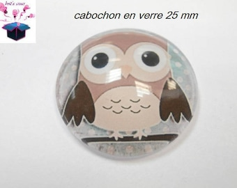 1 cabochon clear 25 mm round pattern owls theme