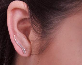 Leaf Sweep up earrings, Ear Crawler earrings Ear climber earrings, ear pin, up the ear cute unusual jewelry sterling Silver fun earrings