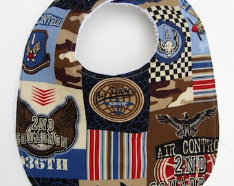 Airplane Air Force Military Baby Bib - Red, White and Blue Patriotic