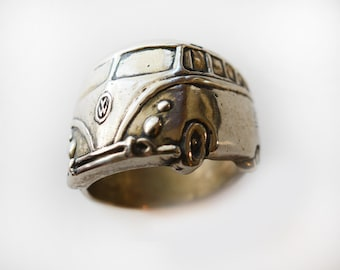 1960's VW Bus Angled Wrap Ring in White or Gold Bronze, and Sterling Silver