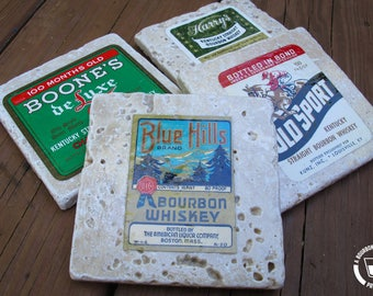 Tumbled Travertine Coasters made with Vintage Bourbon Labels