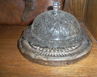 Vintage Cut Glass Covered Dish Butter Dish