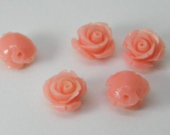 Coral carved flower - 5PCS - 11mm x 8mm -STK-61-CRL-02
