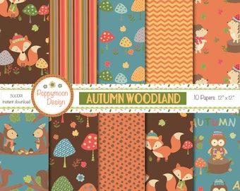 Autumn woodland, printable digital paper pack