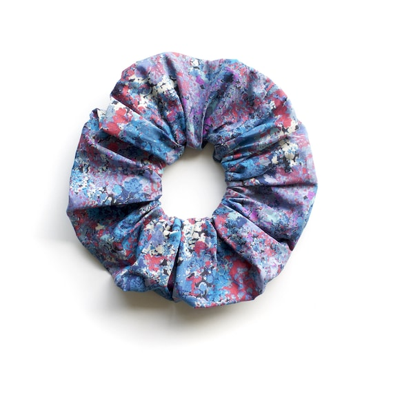 ARTSY Hair Scrunchy or Scrunchie. Blue and Red Hair Scrunchy. Hair Accessories. Retro Accessory