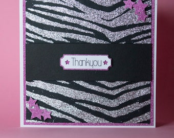 Sparkly Animal Print Pink and Black Handmade Thankyou Card, zebra print card, tiger print card, sparkly animal print card, thank you card