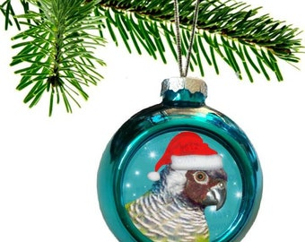 White-eared Conure Parrot Santa Hat Shiny Blue Christmas Bauble Ornament with Snowflake Pattern