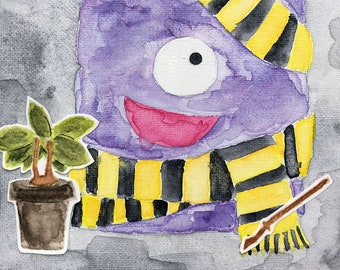 Hufflepuff - Watercolor Monster Painting