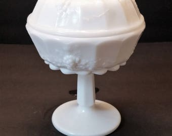 Westmoreland Milk Glass Paneled Grape Compote / Candy Dish