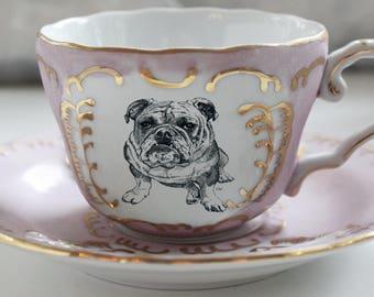 Pink & Gold Bulldog Teacup and Saucer Set, LARGE SIZE AVAILABLE, Dog Tea Set, Bulldog Tea Set, Dog Teacup, Animal Teacup