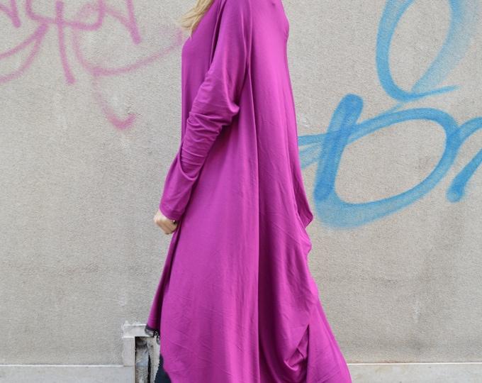 Asymmetric Purple Dress, Maxi Long Dress, Loose Soft Viscose, Casual Dress, Summer Sexy Tunic by SSDfashion