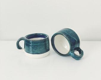 Ceramic Espresso Mugs, pair of Mini ceramic cup espresso cup, jade green coffee cup pottery mug child's mug teal espresso mugs green ceramic