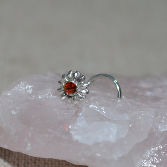 Nose Stud 2mm Garnet - Silver Nose Hoop - Helix Earring - Tragus Stud - Cartilage Earring - Nose Ring - Daith Piercing - Tragus Earring 16g