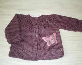 hand knitted baby cardigan / baby sweater purple with a pink sequin butterfly newborn