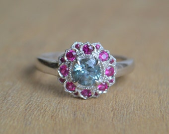 White Gold Flower Ring, Camellia ring, petal ring, colored gemstone ring, gold sapphire ring, gifts for moms, gold pink gemstone ring