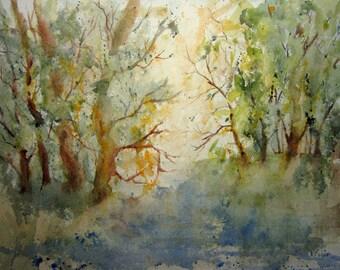 Print Of Original Watercolor landscape painting, woodland art, nature art, watercolor art, watercolor print, forest painting, tree art.