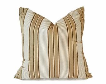 Textured Silk Pillow Covers, Cream Gold Pillows, Cream Striped Cushion, Luxury Decorative Pillows, Metallic Gold Pillows, 18x18, 20x20